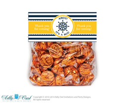 Boy Nautical Treat Goodie bag Toppers Printable for Baby Boy Shower or Birthday DIY Stripes, Navy Yellow