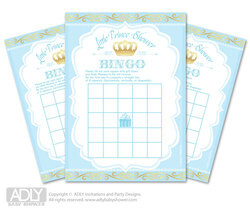 Crown  Prince Bingo Game Printable Card for Baby  Blue Gold  Shower DIY grey,  Crown  Royal   - ao106bs3