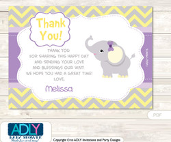 Purple Elephant  Thank you Card with Personalization Purple Elephant  Baby Shower or Birthday Card DIY