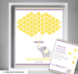 Purple Elephant Guest Book Printable Alternative and Purple Elephant Wall Art for Baby Elephant  Shower DIY Grey  Yellow-
