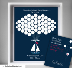 Boy Ship Guest Book Printable Alternative and Boy Ship Wall Art for Baby Ship  Shower DIY Navy Red Nautical
