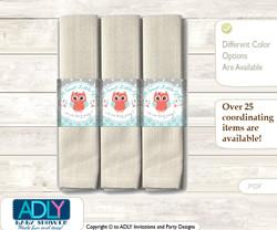 Printable Coral Owl Napkin Ring Label or Napkin Holders for Baby Shower, Aqua, Grey