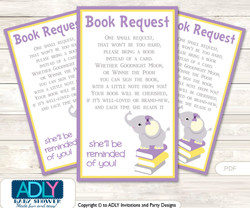 Purple Elephant Book Request Baby Shower Printable DIY Tickets, Book instead of card, It's a Purple, Yellow
