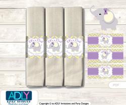 Purple Elephant Napkin Ring Label Printable for Baby Elephant Shower DIY Grey Yellow