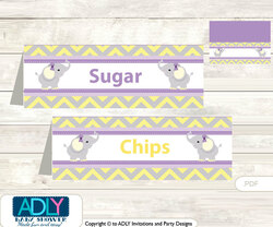 Purple Elephant Food Tent Label, Menu Printable Card for Baby Elephant Shower, Birthday DIY Grey Yellow