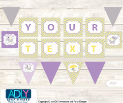 Purple Elephant Personalized  Banner Printable Card for Baby Elephant Shower DIY Grey Yellow