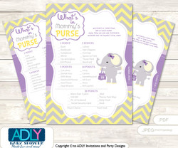 Purple Elephant What is in Mommy's Purse, guess purse Game Printable Card for Baby Elephant Shower DIY Grey Yellow