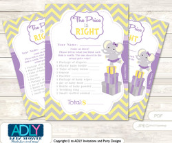 Purple Elephant Price is Right Game Printable Card for Baby Elephant Shower DIY Grey Yellow