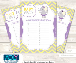 Purple Elephant Baby ABC's Game, guess Animals Printable Card for Baby Elephant Shower DIY Grey Yellow