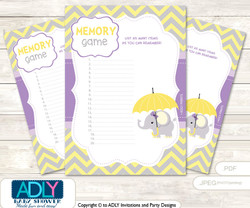 Purple Elephant Memory Game for Baby Shower Printable Card for Baby Elephant Shower DIY Grey Yellow