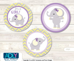 Purple Elephant Candy Kisses circles Printable for Baby Purple Shower DIY Grey , Yellow