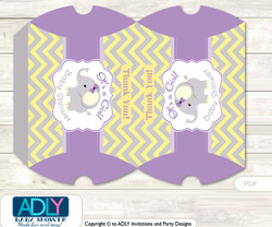 Purple Elephant Candy Pillow Box Treat Printable for Baby Elephant or Birthday Elephant DIY Grey , Yellow