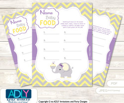Purple Elephant  Name That Food, Baby Food guess Game Printable Card for Baby Elephant Shower DIY Grey Yellow