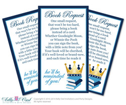 Prince Book Request Baby Shower Printable DIY Tickets, Book instead of card, It's a Boy, Royal - ONLY digital file - ao66bs0