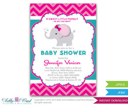 Magenta Turquoise Girl Elephant Baby Shower Printable invitation for girl, chevron, Teal, pink, fuscia- you print sku46bsmt