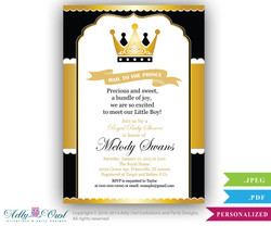 Black Gold Prince Baby Shower invitation for boy,king,golden crown,royal shower- you print ao95bs