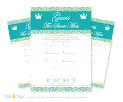 Royal Prince Dirty Diaper Game, Guess Sweet Mess for Baby Shower Printable Card for Baby Prince Shower DIY Crown Teal Gold - ao89bs17