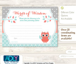 Aqua Coral Owl Words of Wisdom or an Advice Printable Card for Baby Shower, Grey