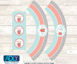 Printable Coral Owl Cupcake, Muffins Wrappers plus Thank You tags for Baby Shower Aqua, Grey