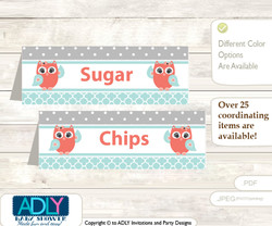 Printable Coral Owl Buffet Tags or Food Tent Labels  for a Baby Shower or Birthday , Aqua, Grey