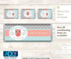 Coral Owl Chocolate Bar Wrapper and Nuggets Candy Wrapper Label for Baby Coral Shower  Aqua , Grey
