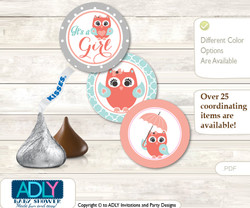 Printable  Coral Owl Candy Kisses for Baby Coral Shower DIY Aqua , Grey