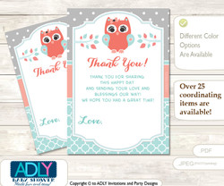 Coral  Owl Thank you Cards for a Baby Coral Shower or Birthday DIY Aqua, Grey