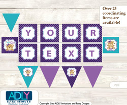 Personalized Purple Bear Printable Banner for Baby Shower, Turquoise, Polka