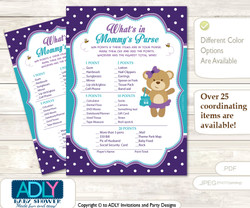 Purple Bear What is in Mommy's Purse, Baby Shower Purse Game Printable Card , Turquoise,  Polka