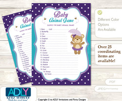 Printable Purple Bear Baby Animal Game, Guess Names of Baby Animals Printable for Baby Bear Shower, Turquoise, Polka