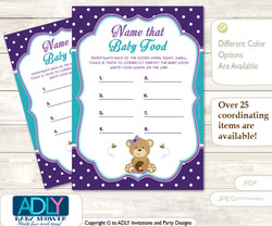 Purple Bear Guess Baby Food Game or Name That Baby Food Game for a Baby Shower, Turquoise Polka