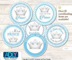 Baby Shower Silver Prince Cupcake Toppers Printable File for Little Silver and Mommy-to-be, favor tags, circle toppers, Baby Blue, Grey