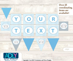 Personalized Silver Prince Printable Banner for Baby Shower, Grey, Baby Blue