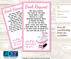 Request a Book Instead of a Card for Girl Jumpman Baby Shower or Birthday, Printable Book DIY Tickets, Sneakers,Pink Black