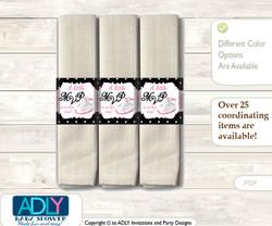 Printable Girl Jumpman Napkin Ring Label or Napkin Holders for Baby Shower, Pink Black, Sneakers