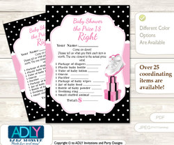 Printable Girl Jumpman Price is Right Game Card for Baby Jumpman Shower, Pink Black, Sneakers