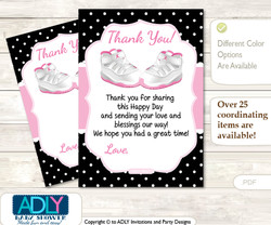 Girl  Jumpman Thank you Cards for a Baby Girl Shower or Birthday DIY Pink Black, Sneakers