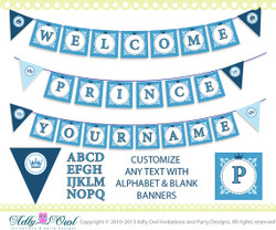Super Welcome Prince and Name Banner Baby Shower Printable DIY blue, castle, crown,BOY shower - ONLY digital file - you print SKU41