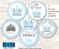 Baby Shower Royal Prince Cupcake Toppers Printable File for Little Royal and Mommy-to-be, favor tags, circle toppers, Blue, Grey