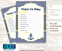 Nautical Boy Wishes for a Baby, Well Wishes for a Little Boy Printable Card, Grey, Navy