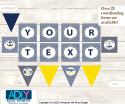 Personalized Nautical Boy Printable Banner for Baby Shower, Navy, Grey