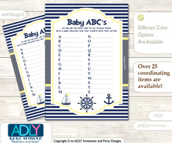 Nautical Boy Baby ABC's Game, guess Animals Printable Card for Baby Boy Shower DIY –Grey