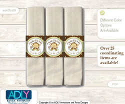 Printable Neutral Monkey Napkin Ring Label or Napkin Holders for Baby Shower, Brown, Polka