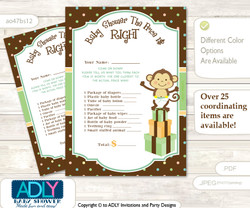 Printable Neutral Monkey Price is Right Game Card for Baby Monkey Shower, Brown, Polka