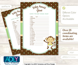 Printable Neutral Monkey Baby Animal Game, Guess Names of Baby Animals Printable for Baby Monkey Shower, Brown, Polka