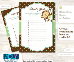 Neutral Monkey Memory Game Card for Baby Shower, Printable Guess Card, Brown, Polka
