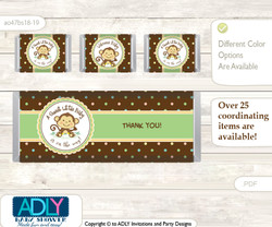 Neutral Monkey Chocolate Bar Wrapper and Nuggets Candy Wrapper Label for Baby Neutral Shower  Brown , Polka