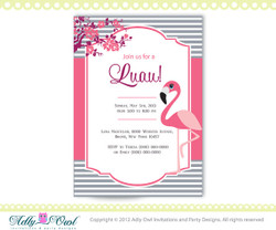Personalized Luau Party Printable with Pink Flamingo DIY party invitation for a luau party,baby shower- ONLY digital file - you print