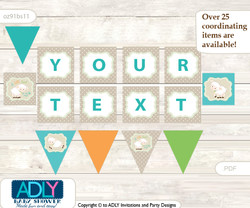 Personalized Neutral Lamb Printable Banner for Baby Shower, Polka, Beige