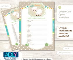 Printable Neutral Lamb Baby Animal Game, Guess Names of Baby Animals Printable for Baby Lamb Shower, Polka, Beige